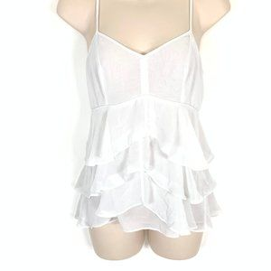 Guess Small White Tank Top Cute Ruffles XS